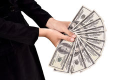 Young businesswoman with lots of dollars in hands Royalty Free Stock Photo