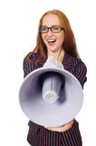 Young businesswoman with loudspeaker on white Royalty Free Stock Photos