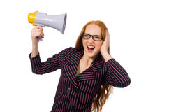 Young businesswoman with loudspeaker on white Royalty Free Stock Photo