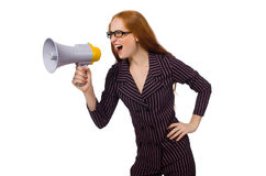 Young businesswoman with loudspeaker on white Royalty Free Stock Image