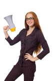 The young businesswoman with loudspeaker on white. Young businesswoman with loudspeaker on white Stock Images