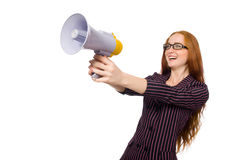 The young businesswoman with loudspeaker on white. Young businesswoman with loudspeaker on white Stock Photography