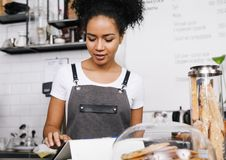 Young businesswoman makes an order Royalty Free Stock Image