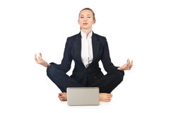 Young businesswoman meditating Royalty Free Stock Photography
