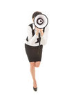 Young businesswoman with megaphone Royalty Free Stock Photo