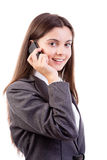 Young businesswoman on mobile phone. Isolated on white background Royalty Free Stock Images