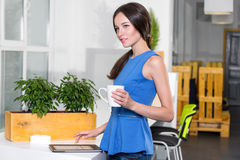 Young businesswoman in modern bright office Stock Photos