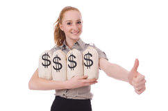 Young businesswoman with money sacks Royalty Free Stock Photography
