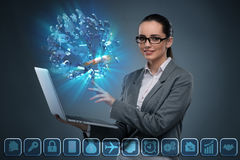 The young  businesswoman in mortgage concept Stock Photography