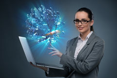 The young  businesswoman in mortgage concept Royalty Free Stock Image