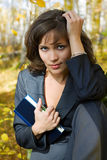 Young businesswoman with a notebook. Royalty Free Stock Image