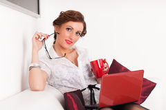 Young businesswoman with notebook. Royalty Free Stock Images