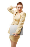 Young businesswoman with notebook PC. Royalty Free Stock Image