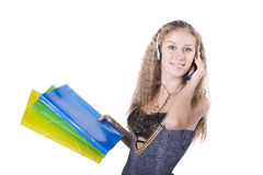 The young businesswoman at office behind work Stock Photo