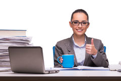 The young businesswoman in office isolated on white Royalty Free Stock Image