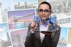 The young businesswoman in online travel booking concept Stock Photography