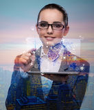 The young businesswoman in online travel booking concept Royalty Free Stock Images