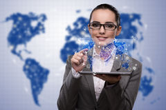 The young businesswoman in online travel booking concept Royalty Free Stock Image