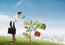 Young businesswoman outdoors watering drawn growth concept with can Royalty Free Stock Image