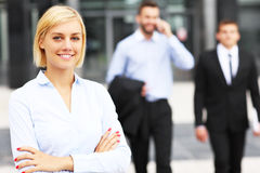 Young businesswoman outside modern building Stock Image