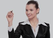 Young businesswoman with pen isolated Royalty Free Stock Image