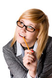 Young businesswoman with pencil Stock Photos