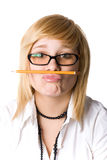 Young businesswoman with pencil Stock Photography