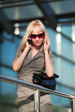 Young businesswoman on the phone. Stock Photos
