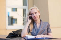 Young businesswoman on the phone. Stock Image