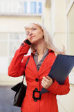 Fashion business woman calling on the cell phone Stock Photo