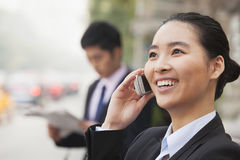 Young Businesswoman on the phone, Beijing, China Stock Images