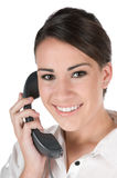 Young businesswoman on the phone, isolated Royalty Free Stock Photography