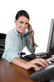 Young businesswoman on the phone, isolated Stock Photos
