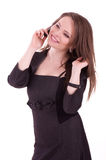 Young Businesswoman with phone isolated Royalty Free Stock Image