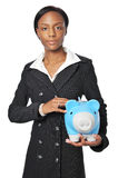 Young Businesswoman with Piggy Bank Royalty Free Stock Photo