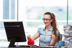 The young businesswoman with piggy bank in the office Royalty Free Stock Photo