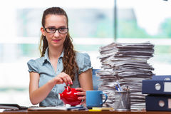 The young businesswoman with piggy bank in the office Stock Images