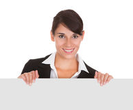 Young Businesswoman With Placard Stock Photography