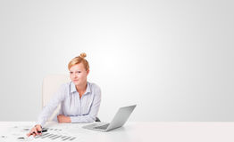 Young businesswoman with plain white copy space Royalty Free Stock Image