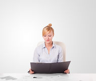 Young businesswoman with plain white copy space Stock Image