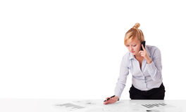 Young businesswoman with plain white copy space Royalty Free Stock Photography