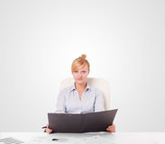 Young businesswoman with plain white copy space Stock Photo