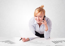 Young businesswoman with plain white copy space Royalty Free Stock Images