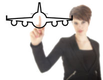 Young businesswoman with plane isolated Royalty Free Stock Image