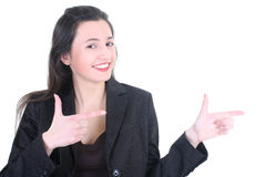 Young businesswoman pointing at Stock Images