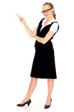 Young businesswoman pointing finger Stock Photos