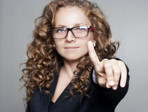 Young Businesswoman Pointing Or Touching At Empty Space Stock Photography