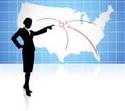 Young businesswoman pointing at US map Royalty Free Stock Image