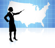 Young businesswoman pointing at world map Stock Photos
