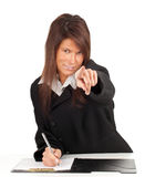 Young businesswoman pointing you Stock Photo